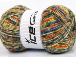 Lot of 4 x 100gr Skeins Ice Yarns PRINT SOCK (75% Superwash Wool) Yarn Grey Blue Orange Green Cream