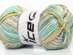 Lot of 4 x 100gr Skeins Ice Yarns BABY COTTON PRINT (50% Cotton) Yarn Cream Khaki Gold Light Grey Light Blue
