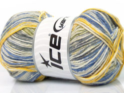Lot of 4 x 100gr Skeins Ice Yarns BABY COTTON PRINT (50% Cotton) Yarn Cream Green Yellow Blue
