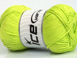 Lot of 4 x 100gr Skeins Ice Yarns BABY COTTON 100GR (100% Giza Cotton) Yarn Neon Green