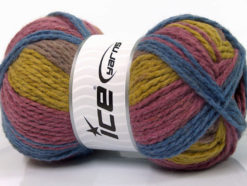 Lot of 4 x 100gr Skeins Ice Yarns DESIGN WOOL WORSTED (30% Wool) Yarn Blue Orchid Lilac Olive Green