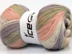 Lot of 4 x 100gr Skeins Ice Yarns ANGORA PRINT (20% Angora 20% Wool) Yarn Lilac Light Pink Light Khaki White