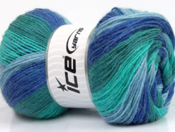 Lot of 4 x 100gr Skeins Ice Yarns ANGORA PRINT (20% Angora 20% Wool) Yarn Blue Shades Turquoise Shades