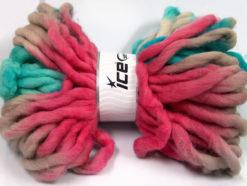 Lot of 2 x 200gr Skeins Ice Yarns JUMBO SUPERWASH WOOL PRINT (100% Superwash Wool) Yarn Turquoise Pink Grey