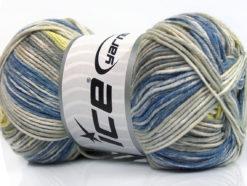 Lot of 4 x 100gr Skeins Ice Yarns BABY COTTON PRINT (50% Cotton) Yarn Blue Grey Shades Yellow Cream