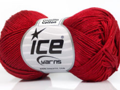 Lot of 6 Skeins Ice Yarns CAMILLA COTTON (100% Mercerized Cotton) Yarn Dark Red