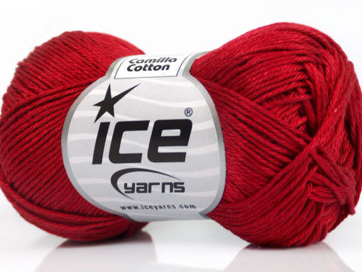 Lot of 6 Skeins Ice Yarns CAMILLA COTTON (100% Mercerized Cotton) Yarn Dark Red