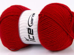 Lot of 4 x 100gr Skeins Ice Yarns Worsted FAVORITE Hand Knitting Yarn Dark Red