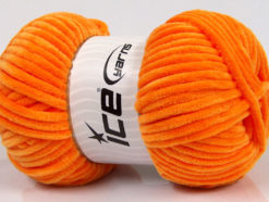Lot of 4 x 100gr Skeins Ice Yarns CHENILLE BABY (100% MicroFiber) Yarn Orange