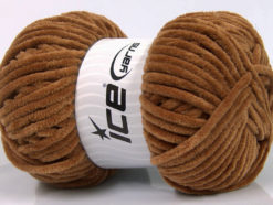 Lot of 4 x 100gr Skeins Ice Yarns CHENILLE BABY (100% MicroFiber) Yarn Light Brown
