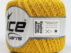 Lot of 6 Skeins Ice Yarns DAPHNE COTTON METALLIC (96% Mercerized Cotton) Yarn Gold