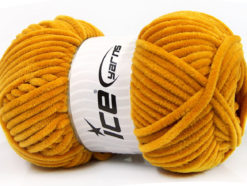Lot of 4 x 100gr Skeins Ice Yarns CHENILLE BABY (100% MicroFiber) Yarn Dark Gold