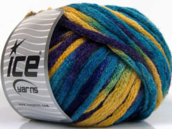 Lot of 4 x 100gr Skeins Ice Yarns PAINT BALL (50% Wool) Yarn Turquoise Purple Gold