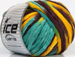 Lot of 4 x 100gr Skeins Ice Yarns PAINT BALL (50% Wool) Yarn Maroon Yellow Turquoise