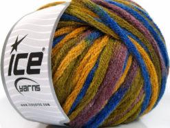 Lot of 4 x 100gr Skeins Ice Yarns PAINT BALL (50% Wool) Yarn Gold Blue Maroon Green