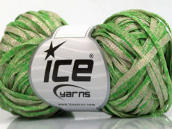 Lot of 8 Skeins Ice Yarns VISCOSE SHINE BULKY (82% Viscose) Yarn Green Beige