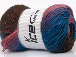 Lot of 4 x 100gr Skeins Ice Yarns PRIMADONNA (50% Wool) Yarn Brown Blue Rose Pink Lilac