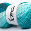 Lot of 4 x 100gr Skeins Ice Yarns MAGIC LIGHT Yarn Turquoise Shades