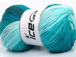 Lot of 4 x 100gr Skeins Ice Yarns MAGIC LIGHT Yarn Turquoise Shades
