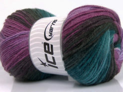 Lot of 4 x 100gr Skeins Ice Yarns MAGIC LIGHT Yarn Purple Shades Turquoise Brown