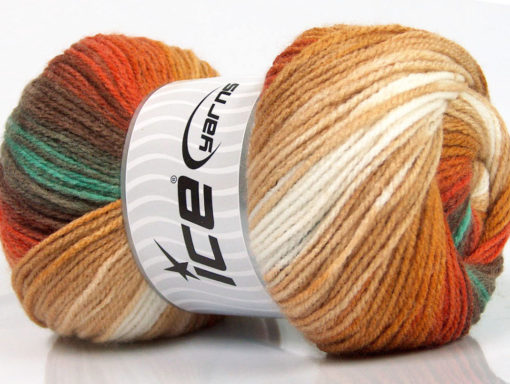 Lot of 4 x 100gr Skeins Ice Yarns MAGIC LIGHT Yarn Brown Shades White Green