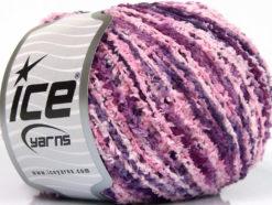 Lot of 8 Skeins Ice Yarns PUFFY FINE Hand Knitting Yarn Purple Shades Pink