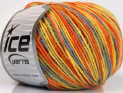 Lot of 8 Skeins Ice Yarns WOOL DK COLOR (50% Wool) Yarn Orange Yellow Grey