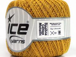 Lot of 6 Skeins Ice Yarns DAPHNE COTTON METALLIC (96% Mercerized Cotton) Yarn Dark Gold