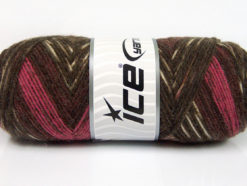 Lot of 4 x 100gr Skeins Ice Yarns BONITO ETHNIC (50% Wool) Yarn Brown Shades Pink Maroon