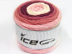 Lot of 2 x 200gr Skeins Ice Yarns CAKES ARAN Yarn Pink Shades Orchid Cream