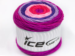 Lot of 2 x 200gr Skeins Ice Yarns CAKES ARAN Yarn Pink Lilac Shades Salmon