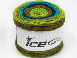 Lot of 2 x 200gr Skeins Ice Yarns CAKES ARAN Yarn Teal Turquoise Green Shades Camel
