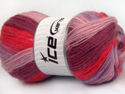 Lot of 4 x 100gr Skeins Ice Yarns ANGORA PRINT (20% Angora 20% Wool) Yarn Pink Orchid Salmon Lilac