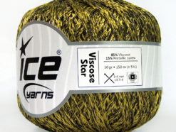 Lot of 6 Skeins Ice Yarns VISCOSE STAR (85% Viscose) Yarn Olive Green Black