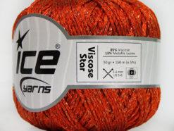Lot of 6 Skeins Ice Yarns VISCOSE STAR (85% Viscose) Yarn Orange Copper