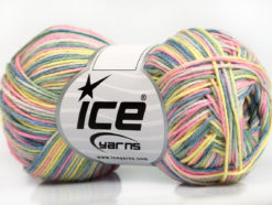 Lot of 8 Skeins Ice Yarns RIMINI COLOR Yarn Light Green Yellow Pink Blue Cream