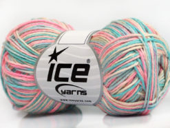 Lot of 8 Skeins Ice Yarns RIMINI COLOR Yarn Light Blue Mint Green Pink Cream