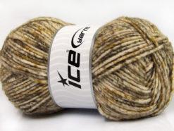 Lot of 4 x 100gr Skeins Ice Yarns WOOL MELANGE (30% Wool) Yarn Brown Shades Camel White