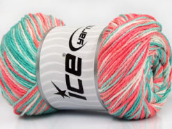 Lot of 4 x 100gr Skeins Ice Yarns DREAM Yarn Mint Green Salmon Shades White