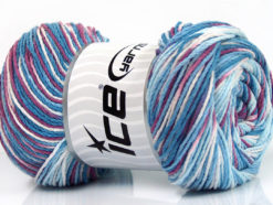 Lot of 4 x 100gr Skeins Ice Yarns DREAM Yarn Blue Shades Orchid White