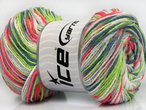 Lot of 4 x 100gr Skeins Ice Yarns DREAM Yarn Jeans Blue Grey Neon Green Neon Pink White
