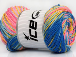 Lot of 4 x 100gr Skeins Ice Yarns DREAM Yarn Blue Shades Yellow Pink Shades