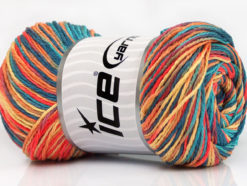 Lot of 4 x 100gr Skeins Ice Yarns DREAM Yarn Jeans Blue Turquoise Salmon Gold