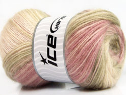 Lot of 4 x 100gr Skeins Ice Yarns ANGORA ACTIVE (25% Angora) Yarn Pink Shades Camel Cream