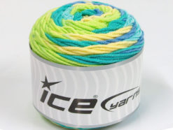 Lot of 3 x 100gr Skeins Ice Yarns CAKES BLUES Yarn Light Green Yellow Turquoise Blue