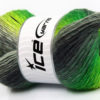 Lot of 4 x 100gr Skeins Ice Yarns LANA BELLA (30% Wool) Yarn Neon Green Grey Shades