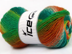 Lot of 4 x 100gr Skeins Ice Yarns LANA BELLA (30% Wool) Yarn Green Shades Orange Gold