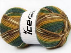 Lot of 4 x 100gr Skeins Ice Yarns JACQUARD (50% Wool) Yarn Green Shades Gold Brown Shades