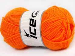 Lot of 8 Skeins Ice Yarns BABY WOOL (40% Wool) Hand Knitting Yarn Light Orange