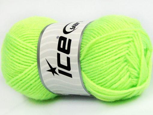 Lot of 8 Skeins Ice Yarns BABY WOOL (40% Wool) Hand Knitting Yarn Neon Green